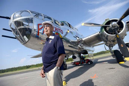 Doolittle Raider Lt. Col. Dick Cole, stands in front of a B-25 at the Destin Airport in Destin, Fla. on Tuesday April 16, 2013 before a flight as part of the Doolittle Raider 71st Anniversary Reunion.