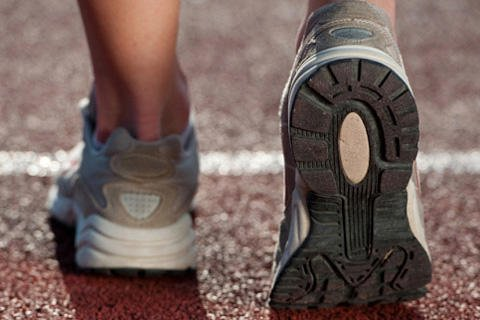 Running shoes on a track.