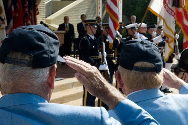 Korean War veterans salute the American flag during a ceremony at the Pentagon, June 24, 2010. (DoD)