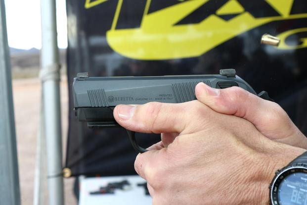 Beretta showed off a new concealed-carry pistol Jan. 18, 2016, at SHOT Show in Las Vegas. The product was inspired by firearms trainer Earnest Langdon. (Photo by Matthew Cox/Military.com)