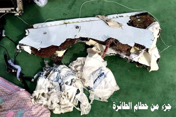 This photo posted May 21 on the official Facebook page of the spokesman for the Egyptian Armed Forces shows part of the wreckage from EgyptAir flight 804.