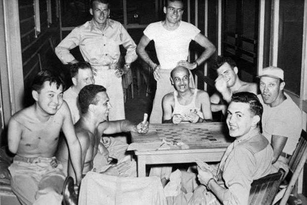 Bob Dole (front right) with fellow future Senator Daniel Inouye at Percy Jones Army Hospital in Battle Creek, Michigan. (Photo courtesy of Robert Dole Library.)