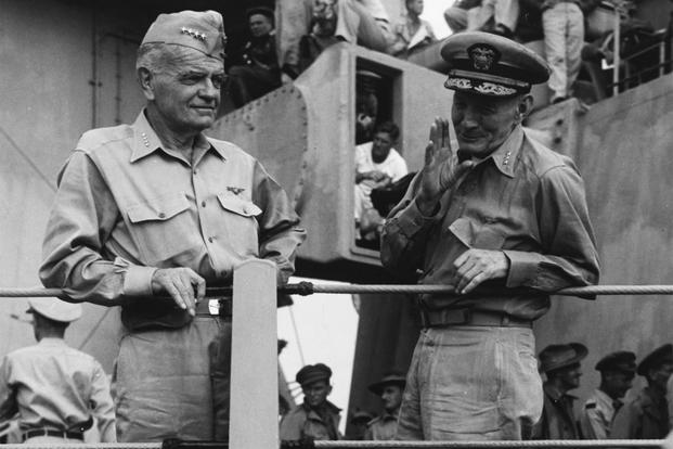 Admiral William F. Halsey and Vice Admiral John S. McCain on board USS Missouri (BB-63) shortly after the conclusion of the surrender ceremonies, 2 September 1945. (Photo: U.S. Naval History and Heritage Command)