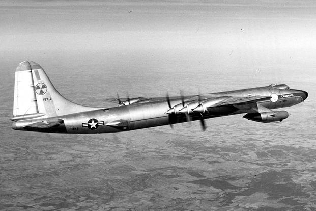 A modified B-36 Bomber became the nation's only flying nuclear reactor in 1955.  The plane, which became as the Nuclear Test Aircraft, help explore nuclear-powered propulsion and the effects of radiation on airframes. (U.S. Air Force photo)