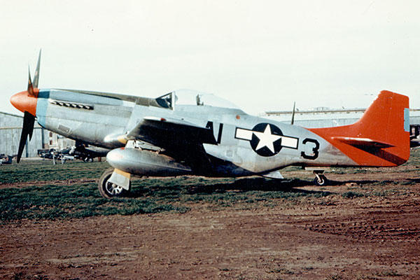 "One of the famous P-51 Mustang ""Red Tails"" of the 332nd fighter group. (U.S. Air Force photo)"