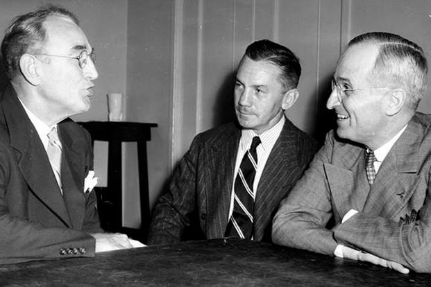 Senator Harry S. Truman (right) with Secretary of the Navy James Forrestal (center) and Senator James Mead (left), 1944. (Truman Library photo)