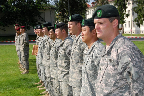 10th Special Forces Group members at attention.