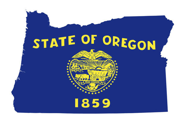 Oregon Map With State Seal