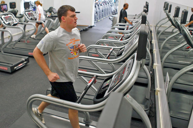 An Airman finishes up his workout in the treadmill room at the Rosburg Fitness Center. (U.S. Air Force photo by Jet Fabara)