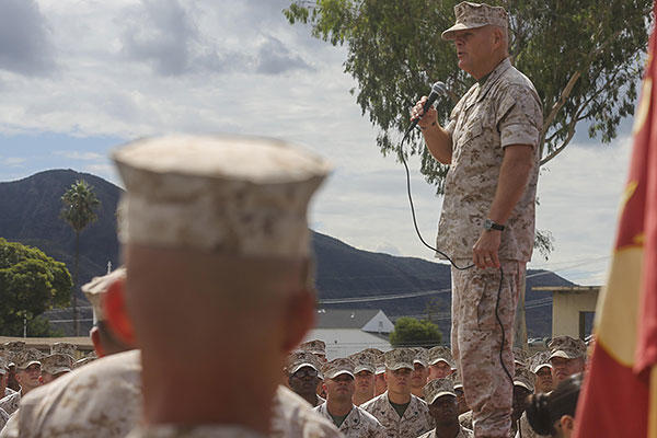 The 37th Commandant of the Marine Corps, Gen. Robert Neller, speaks to Marines of the I Marine Expeditionary Force during his visit to Marine Corps Base Camp Pendleton, California, Oct. 5, 2015. (U.S.Marine Corps/Sgt. James Gulliver)
