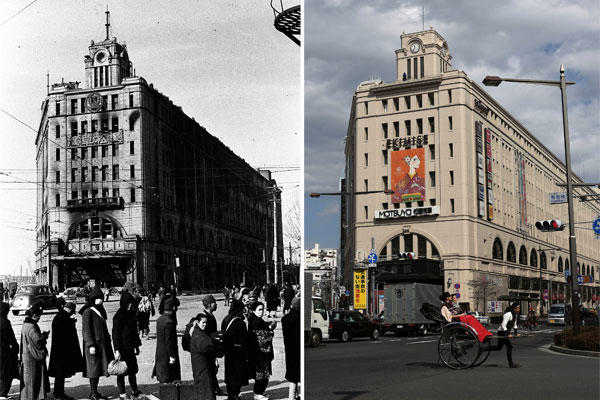(Left) March 19, 1945 shows damaged Matsuya department store after Tokyo firebombing. (Right) Feb. 27, 2015, shows the structure still in use as train station and shopping mall. (AP/The Center of the Tokyo Raids and War Damage, Eugene Hoshiko)