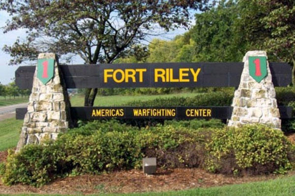 Welcome sign at Fort Riley, Kansas