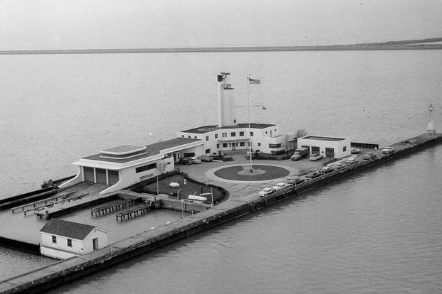 Coast Guard station at Whiskey Island in 1951. (U.S. Coast Guard photo)