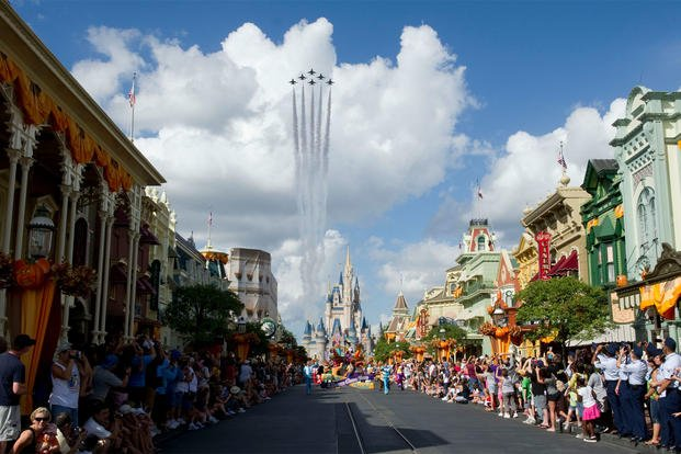 The Thunderbirds, the U.S. Air Force air demonstration team, fly the delta formation over Cinderella's Castle and main street at Disney World in Orlando, Fla., Oct. 26, 2010. (U.S. Air Force photo/Staff Sgt. Larry E. Reid Jr.)