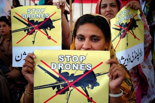 women supporters of a political party rally against the U.S. drone strikes in Pakistani tribal areas, in Peshawar, Pakistan. Mohammad Sajjad/AP