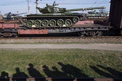 Ukrainian tank on train