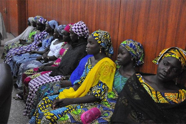 Some of the escaped Kidnapped girls of the government secondary school Chibok, attend a meeting with Borno state governor, Kashim Shettima, in Maiduguri, Nigeria, Monday, June 2, 2014 (AP Photo/Jossy Ola)