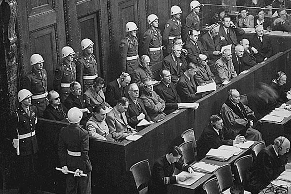 Nuremberg Trials. Looking down on defendants dock, circa 1945-1946. (Source: National Archives)
