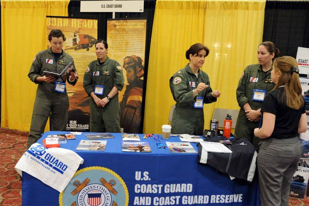 Coast Guard aviators share their experiences in the Coast Guard during the 23rd Annual International Women in Aviation Conference. (U.S. Coast Guard photo by Petty Officer 2nd Class Kelly Parker)