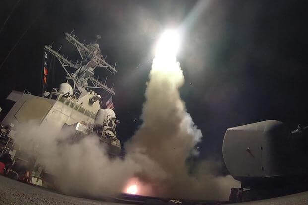 The guided-missile destroyer USS Porter conducts strike operations against a Syrian air base while in the Mediterranean Sea, April 7, 2017. Mass Communication Specialist 3rd Class Ford Williams/Navy