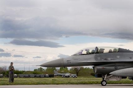 An American F-16 prepares to launch from Graf Ignatievo Air Base in Bulgaria