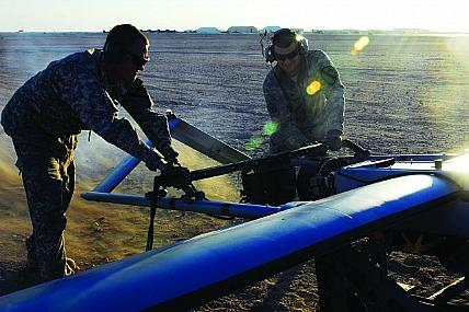 Soldiers prepare a Shadow UAV a mission in Afghanistan