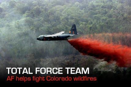 Four Defense Department C-130 Hercules equipped with U.S. Forest Service Modular Airborne Fire Fighting Systems under the command and control of U.S. Northern Command are helping to put out fires in Colorado.