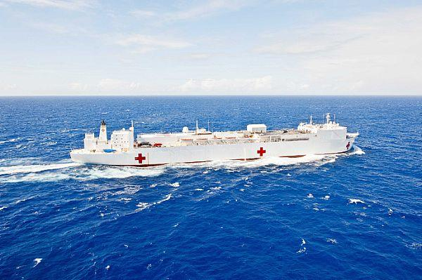 The MSC hospital ship USNS Mercy underway.