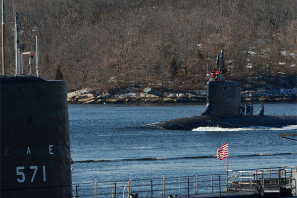 The Virginia-class attack submarine USS New Mexico (SSN 779) departs Naval Submarine Base New London for Ice Exercise 2014.