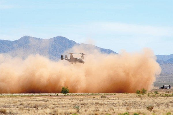 The 58th Special Operations Wing at Kirtland Air Force Base, N.M. has a plan to mitigate aircraft engine damage that happens during training missions, using a biodegradable binding material at practice landing zones. (Courtesy photo)
