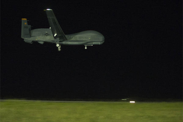 A U.S. Air Force RQ-4 Global Hawk prepares to land Feb. 21, 2015, at Avalon Airport in Victoria, Australia, marking the first historic landing in Australia. (U.S. Air Force photo/Sheila deVera)