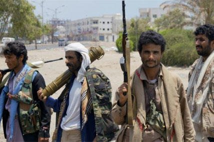 Shiite fighters known as Houthi gather at a street in Aden, Yemen, Thursday, April 2, 2016. (AP Photo/Wael Qubady)