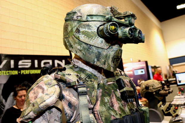 Revision Military presented its Kinetic Operations Suit at the 2015 Special Operations Forces Industry Conference. (Military.com/Matthew Cox)