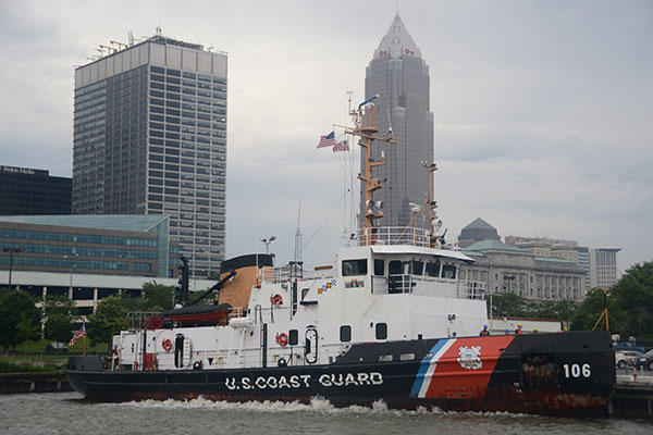 Coast Guard Cutter Morro Bay at its mooring at the Cleveland Moorings Facility. (U.S. Coast Guard/Petty Officer 3rd Class Christopher M. Yaw)