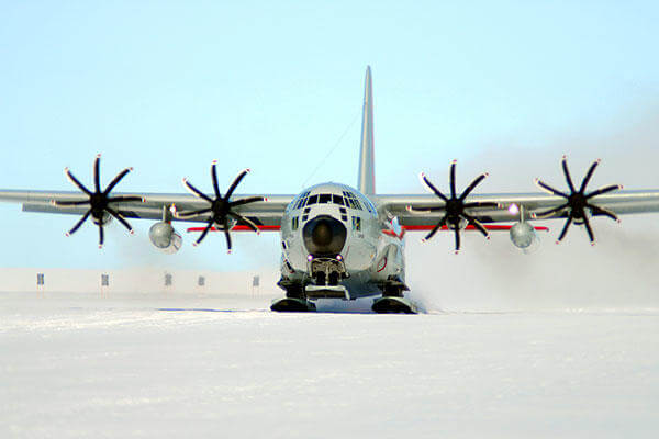A ski-equipped LC-130 Hercules from the New York Air National Guard's 109th Airlift Wing takes off Feb. 2, 2011, during an Operation Deep Freeze mission in Antarctica. (U.S. Air Force photo)