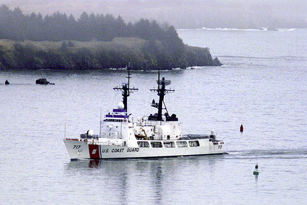 Coast Guard Cutter Mellon (WHEC 717) a 378 feet high endurance cutter patrols the waters of off Kodiak Alaska. (USCG/PA1 Keith Alholm)