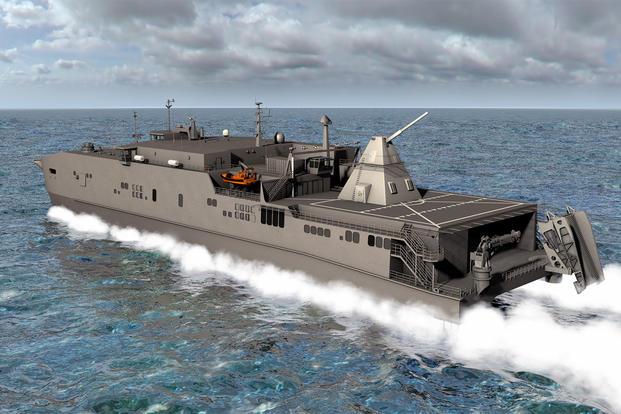 Official U.S. Navy file photo of an artist rendering showing the Office of Naval Research-funded electromagnetic railgun installed aboard the joint high-speed vessel USNS Millinocket (JHSV 3). (U.S. Navy photo illustration/Released)