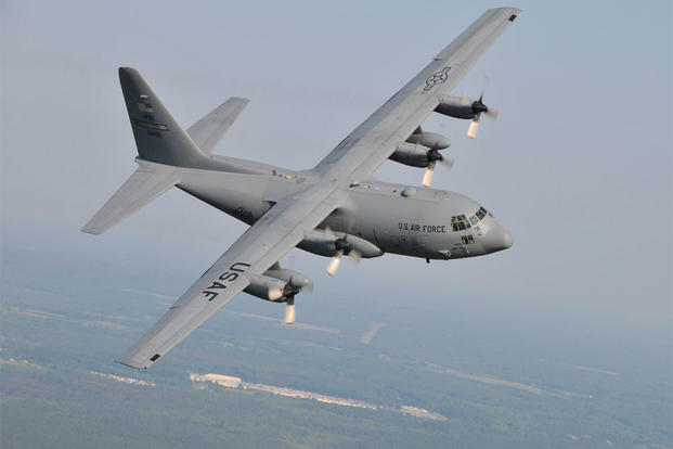A C-130 H2 transport aircraft from the 440th Airlift Wing stationed on Pope AFB, North Carolina, flying over North Carolina, Dec. 2008. (U.S. Air Force photo)