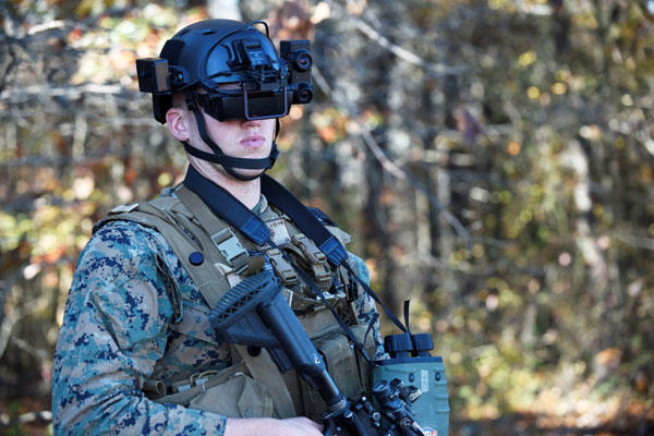 A student in the Marine Corps infantry officer course uses the Office of Naval Research-funded Augmented Immersive Team Trainer (AITT) during testing held at Quantico, Va, Nov. 5, 2015. (Photo by John Williams/U.S. Navy)