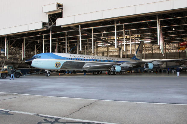 Restoration specialists tow SAM 26000 from the restoration hangar to the Presidential Gallery at the National Museum of the U.S. Air Force, March, 2010. (U.S. Air Force photo)