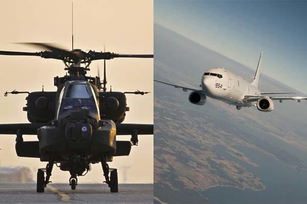 The U.K. Ministry of Defence confirmed the purchase of nine P-8A Poseidon maritime patrol aircraft for the Royal Air Force and 50 AH-64E Apache attack helicopters. (Photos: US Department of Defense)