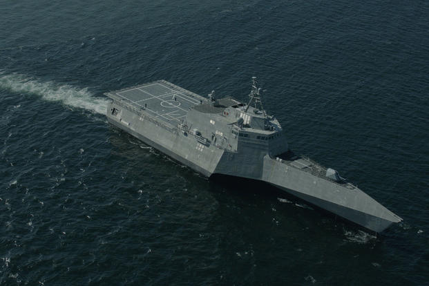 The Future USS Montgomery (LCS 8) conducted acceptance trials at sea on May 6, 2016, demonstrating the performance of its propulsion plant, ship handling, and auxiliary systems. Photo by Austal USA