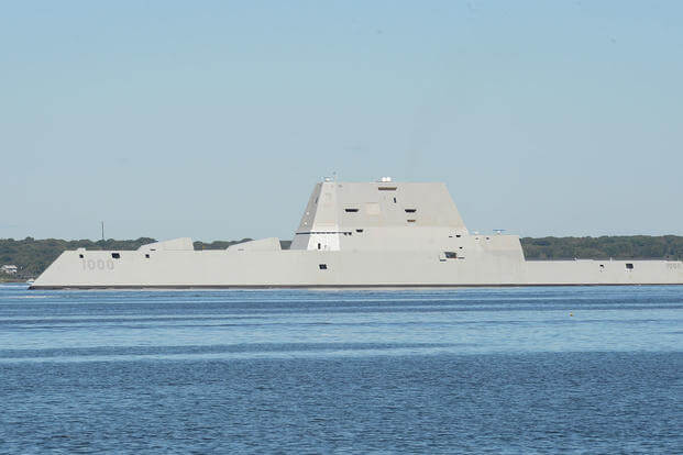 The guided-missile destroyer Pre-Commissioning Unit (PCU) Zumwalt (DDG 1000) departs from Naval Station Newport, Rhode Island following its maiden voyage from Bath Iron Works Shipyard in Bath, Maine. (U.S. Navy photo by Haley Nace/Released)