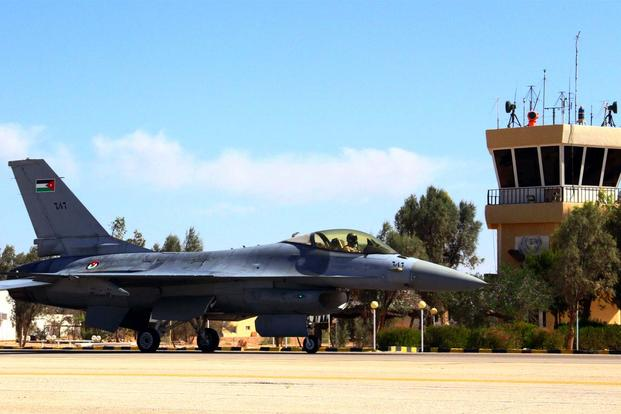 FILE - An F-16 Fighting Falcon from the Royal Jordanian Air Force taxis on the flightline at an air base in northern Jordan May 26, 2014. (U.S. Air Force photo by Staff Sgt. Tyler McLain)