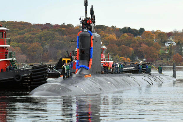 The Virginia-class, fast-attack submarine, USS New Hampshire (SSN 778) returns to Naval Submarine Base New London after a regularly scheduled deployment, Nov. 9, 2016. (U.S. Navy photo/Petty Officer 2nd Class Erin Hamilton)