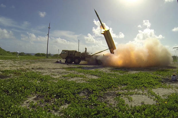 A Terminal High Altitude Area Defense (THAAD) interceptor is launched from a THAAD battery located on Wake Island, during Flight Test Operational (FTO)-02 Event 2a, conducted Nov. 1, 2015. (Missile Defense Agency/Ben Listerman)