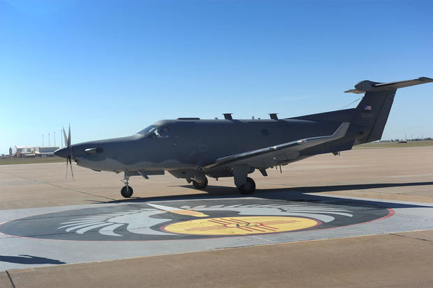 The 318th Special Operations Squadron welcomed the arrival of a U-28A aircraft Aug. 30, 2013 at Cannon Air Force Base, N.M. (U.S. Air Force photo/Senior Airman Xavier Lockley)