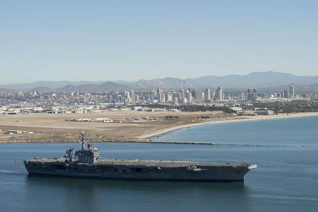 USS Theodore Roosevelt (CVN 71) departs Air Station North Island for its first underway period since arriving at its new homeport in San Diego, Dec 19, 2016. (U.S. Navy photo/Petty Officer 2nd Class Dan Posey)