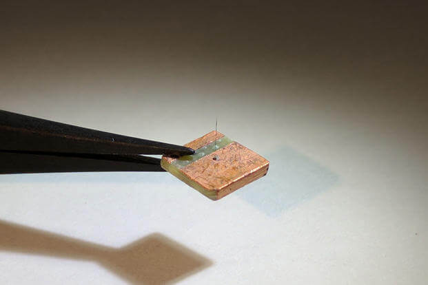 Researchers at the Materials and Manufacturing Directorate, Air Force Research Laboratory, have developed a novel, lightweight artificial hair sensor that mimics those used by natural fliers like bats and crickets. (U.S. Air Force photo)