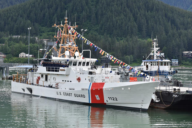 The crew of the Coast Guard Cutter Bailey Barco gathers on deck during the vessel's commissioning ceremony in Juneau, Alaska, June 14, 2017. (Coast Guard photo/Petty Officer 1st Class Jon-Paul Rios)